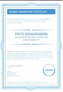 Esomar certificate F. Spangenberg
